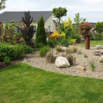 Raseneinsaat, Pflanzenkonzept als Sichtschutzwand, Steinbeet mit Succulenten